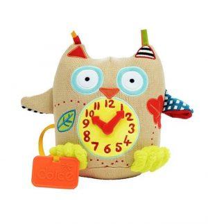 Dolce Zabawka sensoryczna dla niemowląt Mój pierwszy zegar Sówka