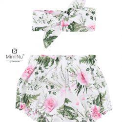 MimiNu by Kieczmerski Bloomersy dziewczęce na lato z opaską 0-6 m