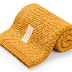 Memi Bawełniany kocyk dla niemowląt warkocz 80×100 Mustard (100% bawełna)