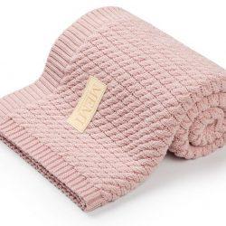 Memi Bawełniany kocyk dla niemowląt warkocz 80×100 Powder Pink