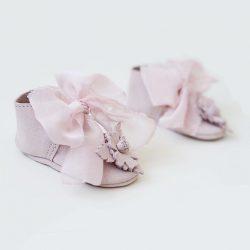 Buciki niemowlęce do chrztu różowe balerinki dla dziewczynki
