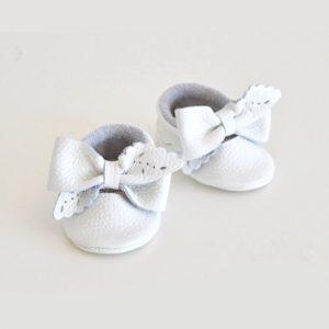 Butterfly Kids Buciki niechodki niemowlęce do chrztu Mokasyny Audrey Biały 11 cm