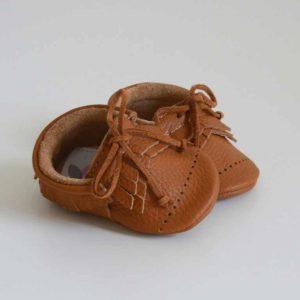 Butterfly Kids Buciki niechodki niemowlęce Mokasyny Dots Raph Karmel 11 cm