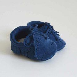 Butterfly Kids Buciki niechodki niemowlęce Mokasyny Dots Luke Granatowy 11 cm