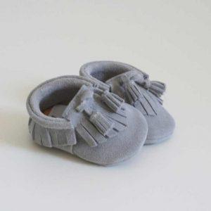 Butterfly Kids Buciki niechodki niemowlęce Mokasyny Boho Jasny popiel 11 cm