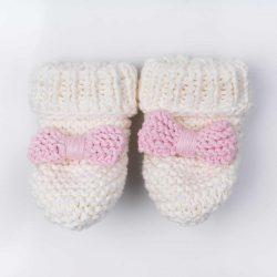 Handmade różowe wełniane eko buciki papcie niemowlęce