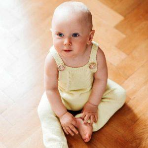 By Royal Baby Wełniany Eko Rampers dziecięcy Handmade żółty