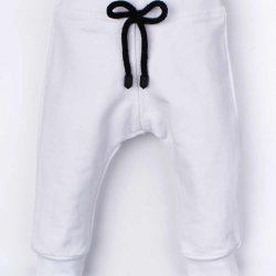 Bawełniane białe sportowe spodnie niemowlęce