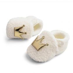 Buciki wełniane papcie niemowlęce Tuptusie ecru – złoto