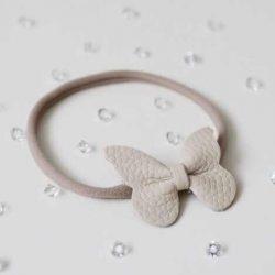 Opaska dla dziewczynki z beżową kokardką chrzest roczek wesele