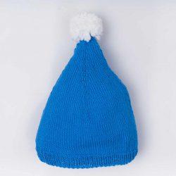 Niebieska czapka niemowlęca z pomponem