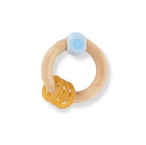 Hevea Grzechotka dla niemowląt z drewna kauczukowego Niebieska