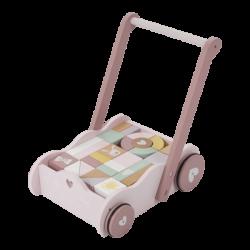 Little Dutch Zabawka drewniana dla dziecka Wózek z klockami Różowy