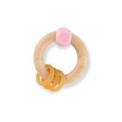 Hevea Grzechotka dla niemowląt z drewna kauczukowego  Różowa
