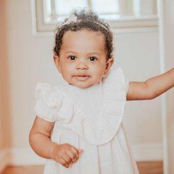 Baby pink elegancka muślinowa sukienka dla dziewczynki cukierkowy róż