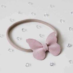 Opaska dla dziewczynki z różową kokardką chrzest roczek