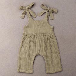 Khaki muślinowy rampers dla dziewczynki