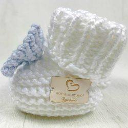 Handmade wełniane buciki papcie niemowlęce