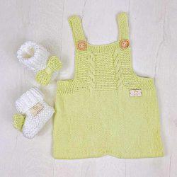 Handmade wełniany rampers śpioszki dla niemowląt Pistachio