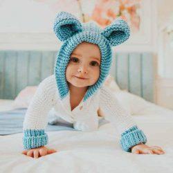 Handmade Uszatek miękki wełniany kombinezon niemowlęcy blue