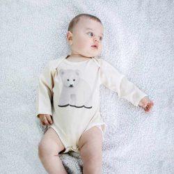 Olly & Arya Body dziecięce z długim rękawem Niedźwiedź Polarny