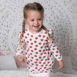 Truskawkowa dresowa sukienka tunika dla dziewczynki