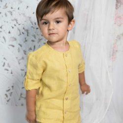 By Royal Baby Edition Lniana Koszula dla chłopca Bluzeczka chłopięca Mustard