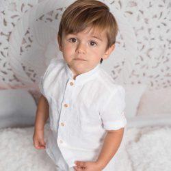 By Royal Baby Edition Lniana elegancka koszula chłopięca Ubranko do Chrztu dla chłopca Classic White