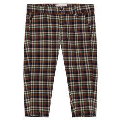 Eleganckie brązowe spodnie chłopięce w kratę