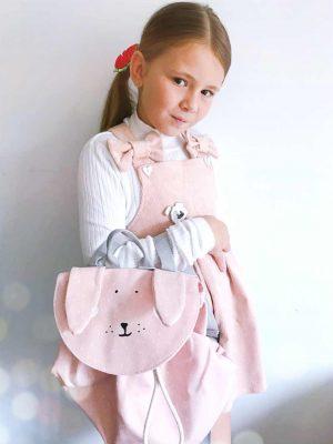 By Royal Baby Sztruksowa ogrodniczka z kokardkami sukienka dla dziewczynki
