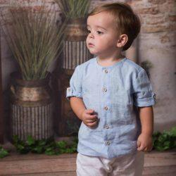Premium lniana błękitna koszula dla chłopca