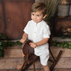 Elegancki biały komplet chłopięcy koszula długie spodnie z lnu