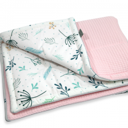 Tiny Star Kocyk Cotton-waffel 75×100 Pastel Sprigs & Powder Pink