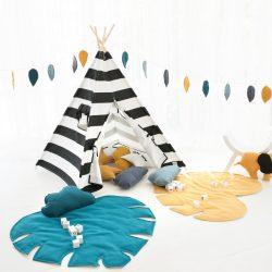 Cozydots Mata edukacyjna dla niemowląt i dzieci Mata do zabawy Green Monstera Leaf