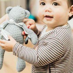 Bamboom Miękka Zabawka z Pozytywką dla niemowląt Popielaty Miś  30cm 0m+