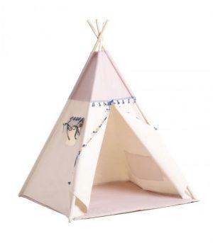 Cozydots Tipi z chwostami Boho Pink  Różowy namiot z matą