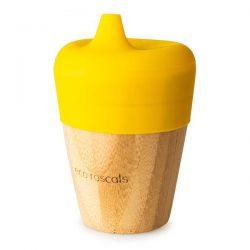 Eco Rascals Kubek bambusowy do picia z silikonową nakładką Żółty