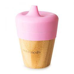 Eco Rascals Kubek bambusowy do picia z silikonową nakładką Jasno różowy