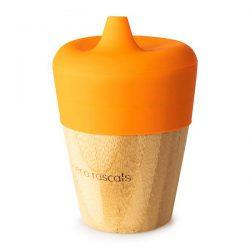 Eco Rascals Kubek bambusowy do picia z silikonową nakładką Pomarańczowy