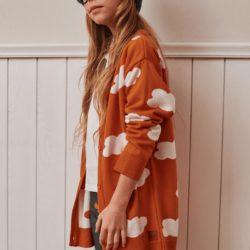 Mamatu Sweter dziecięcy Kardigan dla dziewczynki  SKY orange