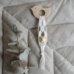 Piumino Drewniany gryzak dla niemowląt Ptak Makrama