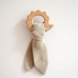 Piumino Drewniany gryzak dla niemowląt Jeżyk Beżowy