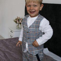 Luksusowy komplet dla chłopca błękitna krata