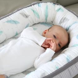 Tiny Star Gniazdko Kokon niemowlęcy Cottonwaffel Grey & Plumes