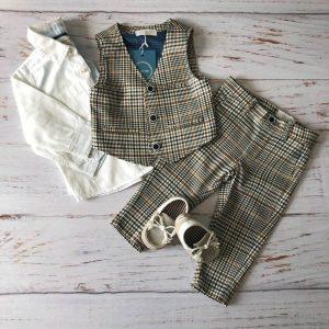 Laurentino Spodnie chłopięce beżowa krata