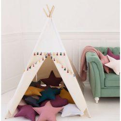 Cozydots Biały namiot Tipi Boho White – 4 elementy