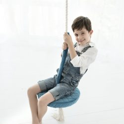 Cozydots Huśtawka dla dziecka okrągła drewniana Ice Blue
