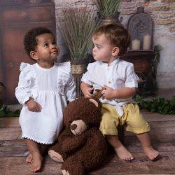 Boho komplet ubranko dla chłopca koszula bermudy z lnu