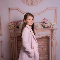 Jesienny płaszcz dla dziewczynki pudrowy róż