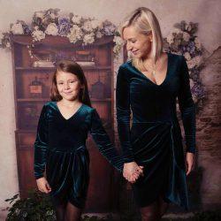 Luna komplet mama córka aksamitna sukienka